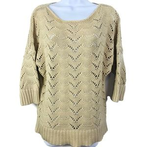 LOFT Cable Knit 3/4 Sleeve Pullover Sweater
